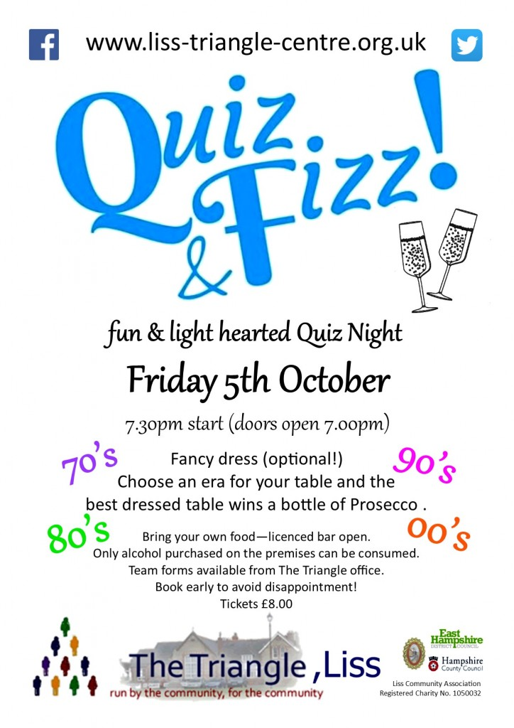 quiz & fizz - 05.10.18 - poster amended