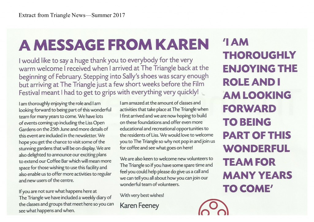 newsletter extract - summer2017 - karen
