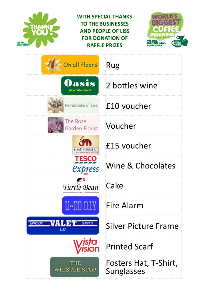 coffee bar - macmillan 30.09.17 - raffle prizes2