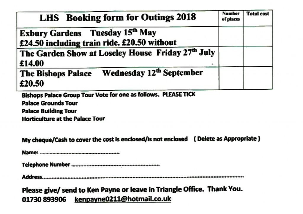 lhs - outings - booking form