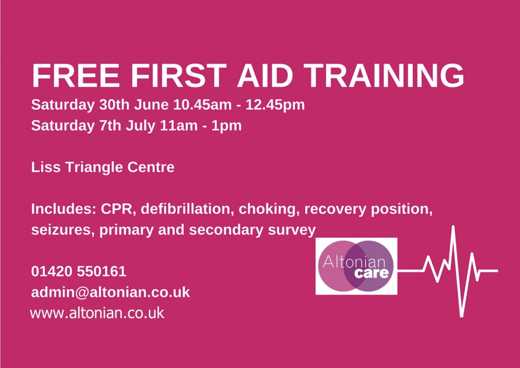 first aid training - altonian care - 30.06.18 and 07.07.18 - poster